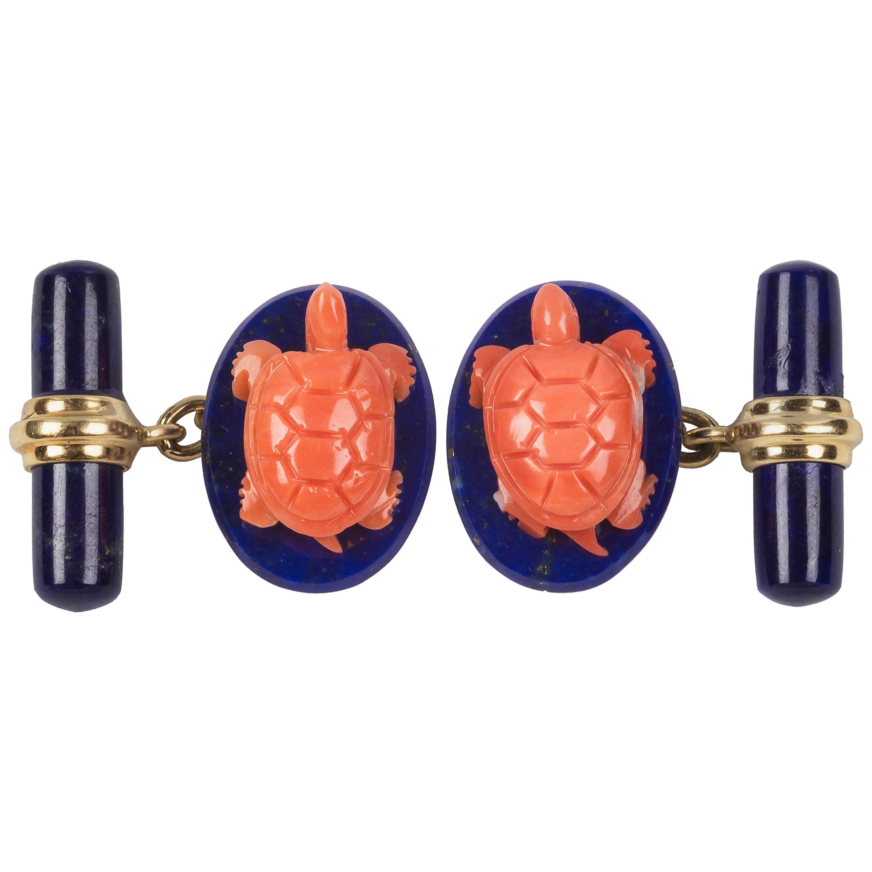 18 Karat Yellow Gold Turtle Mediterranean Coral and Lapis Lazuli Cufflinks