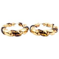18 Karat Yellow Gold Twist Hoop Earrings with Cheetah Print Enamel
