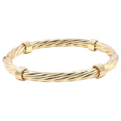 18 Karat Yellow Gold Twisted Bangle Station Bracelet