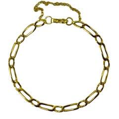 18 Karat Yellow Gold Twisted Figaro Curb Link Bracelet