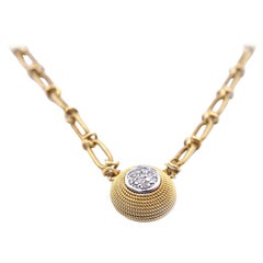 18 Karat Yellow Gold Twisted Texture Cluster Diamond Necklace