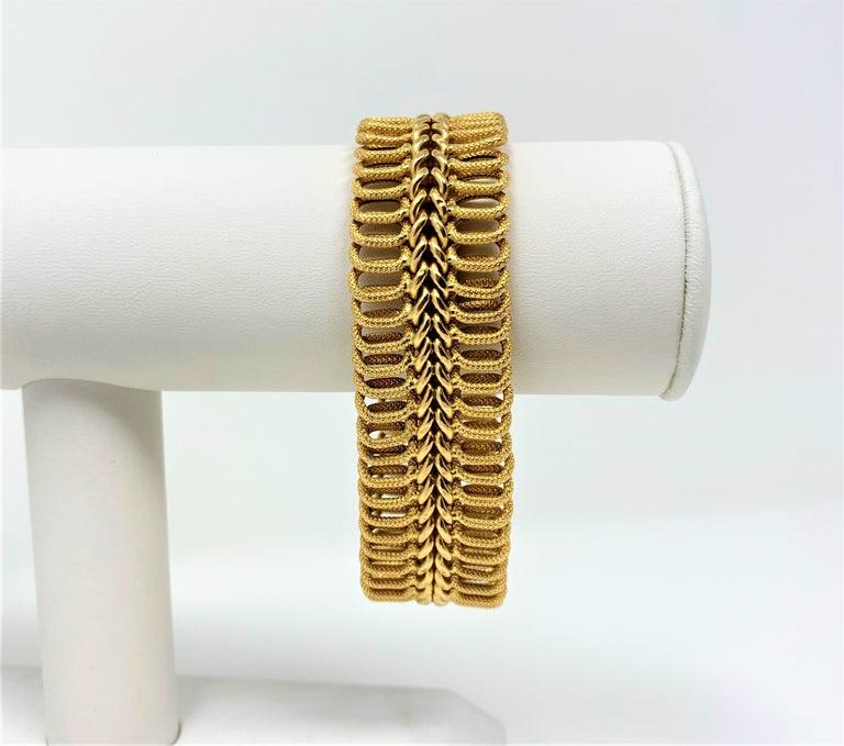 18k Yellow Gold 34.7g UnoAErre Wide 23mm Fancy Link Bracelet Italy 7.75