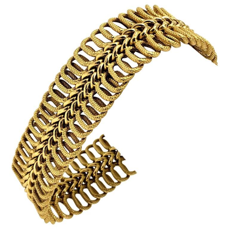 18 Karat Yellow Gold UnoAErre Wide Fancy Link Bracelet