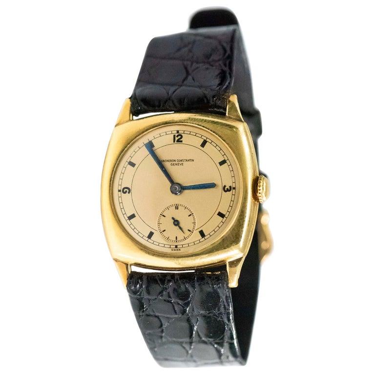 18 Karat Yellow Gold Vacheron Constantin Sector Dial Officers Cushion Wristwatch For Sale