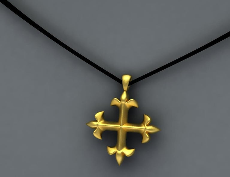 Contemporary 18 Karat Yellow Gold Vermeil St. Mary's Fleur-di-Lys Pendant Necklace For Sale