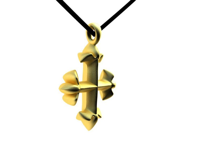 18 Karat Yellow Gold Vermeil St. Mary's Fleur-di-Lys Pendant Necklace In New Condition For Sale In New York, NY
