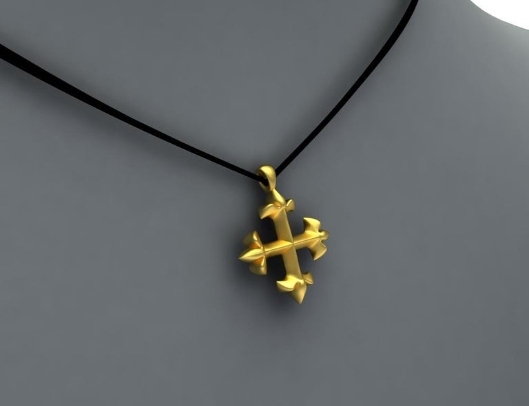 Women's 18 Karat Yellow Gold Vermeil St. Mary's Fleur-di-Lys Pendant Necklace For Sale
