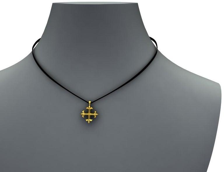 18 Karat Yellow Gold Vermeil St. Mary's Fleur-di-Lys Pendant Necklace For Sale 1