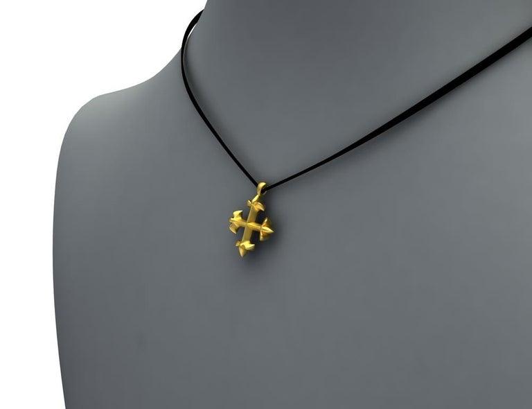 18 Karat Yellow Gold Vermeil St. Mary's Fleur-di-Lys Pendant Necklace For Sale 2