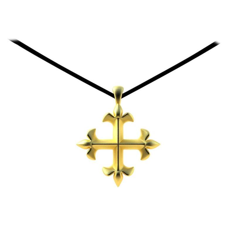 18 Karat Yellow Gold Vermeil St. Mary's Fleur-di-Lys Pendant Necklace For Sale