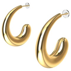 18 Karat Yellow Gold Vermeil C-Hoop Teardrop Earrings