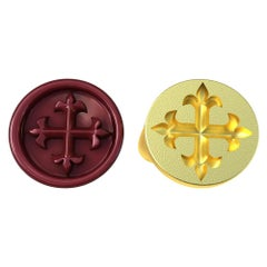 18 Karat Yellow Gold Vermeil Cross Signet Wax Seal Ring