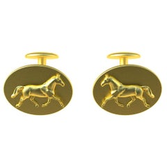 18 Karat Yellow Gold Vermeil Dressage Horse Cuff links