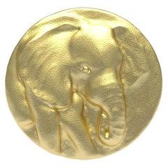 18 Karat Yellow Gold Vermeil Elephant Signet Ring