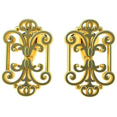 18 Karat Yellow Gold Vermeil French Gate Cufflinks