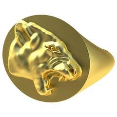 18 Karat Yellow Gold Vermeil Growling Lion Signet Ring
