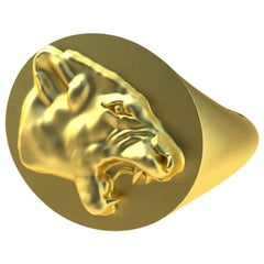 18 Karat Yellow Gold Vermeil Growling Lion Signet Ring