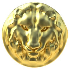 18 Karat Yellow Gold Vermeil Leo Lion Head Signet Ring