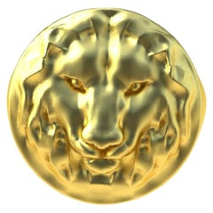 18 Karat Yellow Gold Vermeil Leo Lion Head Signet Ring