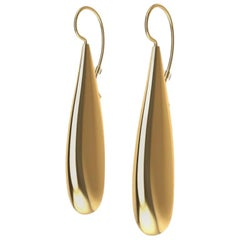 18 Karat Yellow Gold Vermeil Long Teardrop Drop Earrings