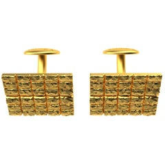 18 Karat Yellow Gold Vermeil Molten Blocks Cufflinks
