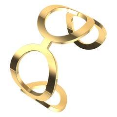 18 Karat Yellow Gold Vermeil Oval Cuff Bracelet