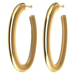 18 Karat Yellow Gold Vermeil Oval Teardrop Hoop Earrings