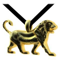 18 Karat Yellow Gold Vermeil Persepolis Lion Pendant Necklace