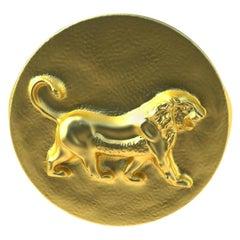 18 Karat Yellow Gold Vermeil Persepolis Lion Signet Ring