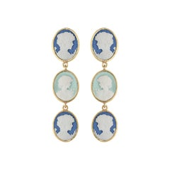 18 Karat Gold-Plated Sterling Silver Portrait of Ladies Jasperware Earrings