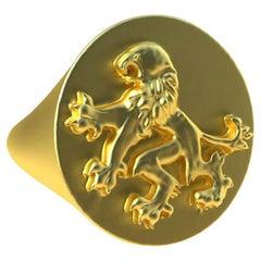 18 Karat Yellow Gold Vermeil Rampant Lion Signet Ring