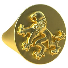 18 Karat Yellow Gold Vermeil Rampant Lion Signet Ring