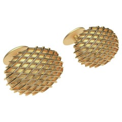18 Karat Yellow Gold Vermeil Rhombus Cufflinks