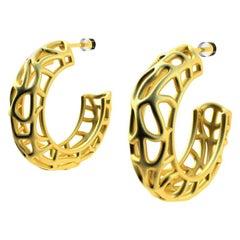 18 Karat Yellow Gold Vermeil Seaweed Hoop Earrings