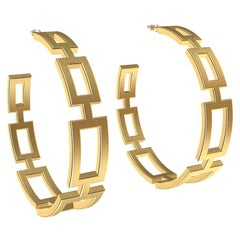 18 Karat Yellow Gold Vermeil Seven Rectangle Hoops