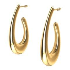18 Karat Yellow Gold Vermeil Teardrop Hollow Hoop Earring