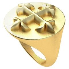 18 Karat Yellow Gold Vermeil  Fleur de Lis  Signet Ring