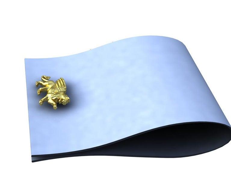 18 Karat Yellow Gold Vermeil Winged Griffin Cufflinks For Sale 2