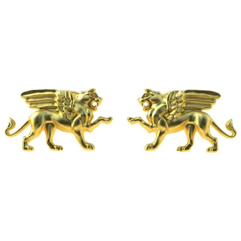 18 Karat Yellow Gold Vermeil Winged Griffin Cufflinks For Sale