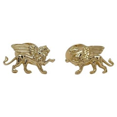 18 Karat Yellow Gold Vermeil Winged Griffin Cufflinks