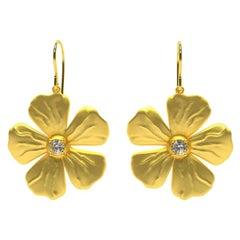 18 Karat Yellow Gold Vermeil with GIA Diamonds Periwinkle Flower Earrings