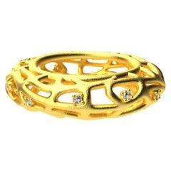 18 Karat Yellow Gold Vermeil Women's GIA Diamond Seaweed Ring