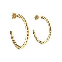 18 Karat Yellow Gold Vetebrae Hoop Earrings
