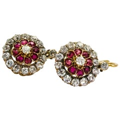 18 Karat Yellow Gold Victorian Ruby Diamond Flower Cluster Dangle Earrings