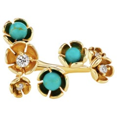 18 Karat Yellow Gold Vine Ring with Turquoise and Diamond Accent