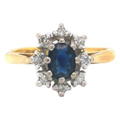 18 Karat Yellow Gold Vintage 1970s Sapphire and Diamond Halo Ring UK