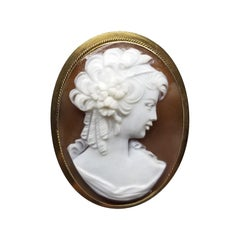 18 Karat Yellow Gold Vintage Cameo Pin and Pendant