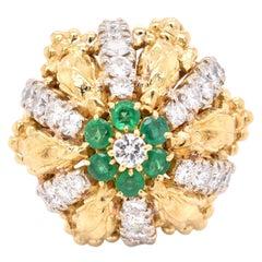 18 Karat Yellow Gold Vintage Diamond and Emerald Cocktail Ring