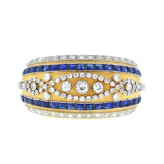 18 Karat Yellow Gold Vintage Diamond Sapphire Wide Bangle 6 Carat