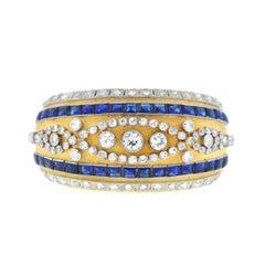 18 Karat Yellow Gold Vintage Diamond Sapphire Wide Bangle 6 Carat